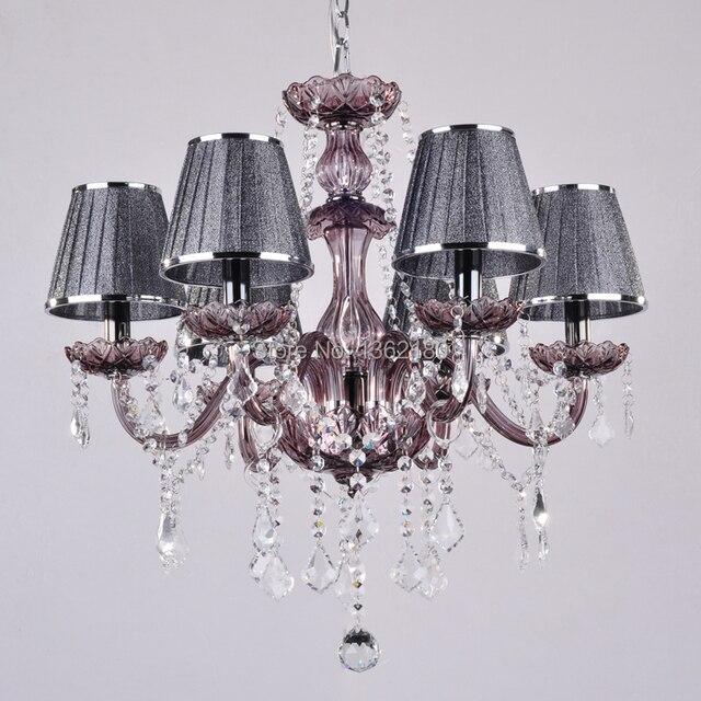 US $255.54 5% OFF|Moderne Kristall kronleuchter grau licht mit schatten  Hängende kristalllampe wohnzimmer schlafzimmer lampe verschiffen frei in ...