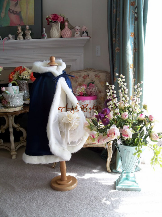 ФОТО Long thick navy blue flower girl faux fur cape winter jacket wrap baby bolero wedding party coat outwear cloaks with hand muff