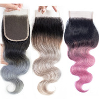 MOGUL HAIR T 1B Grey Pink 4*4 Lace Closure Ombre Human Hair Brazilian Body Wave Remy Hair 10 12 14 inch Free Middle Part