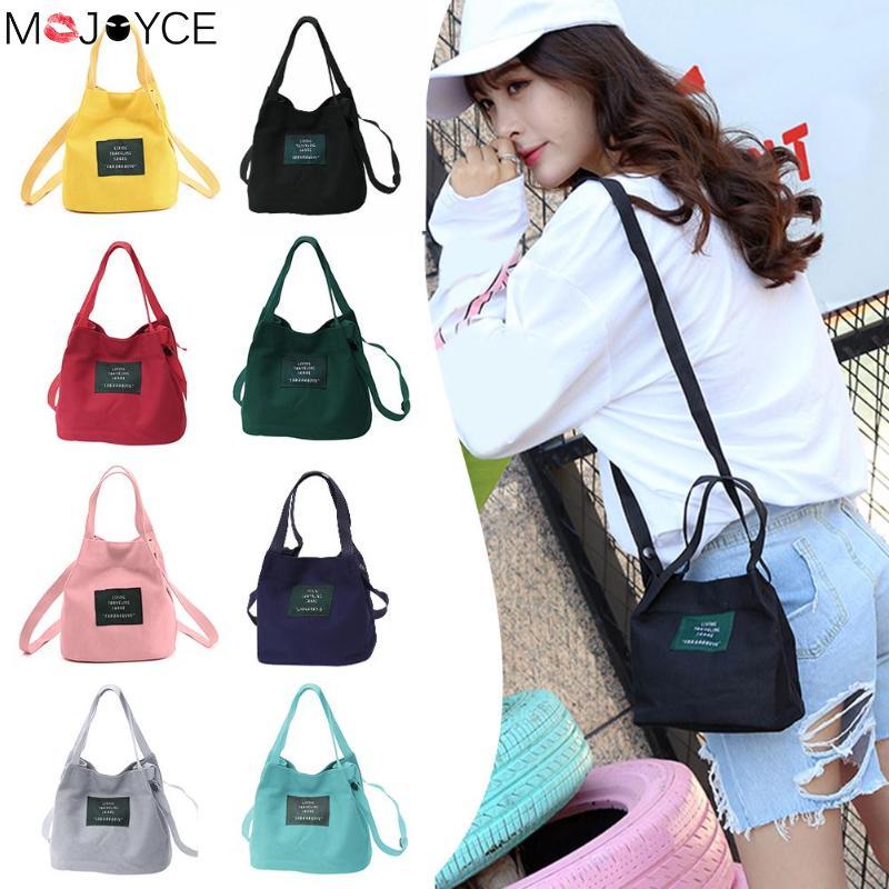 Girls Female Letter Print Shoulder Messenger Bucket Handbags Women Canvas Small Shopping Casual Crossbody Top-handle Bags