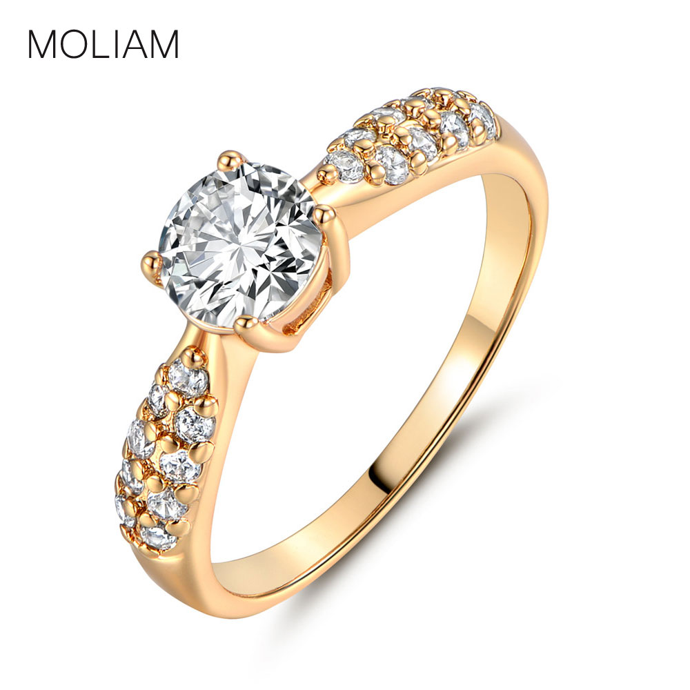 MOLIAM Fashion Wedding Ring for Women Gold-Color AAA Cubic Zirconia Crystals Brand Rings Hot Sell Jewelry MLR140