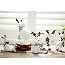 Украшения рождественские фигурки оленя Рождественский набор украшений с рождественскими оленями для год украшения игрушки Фигурки Животных из смолы