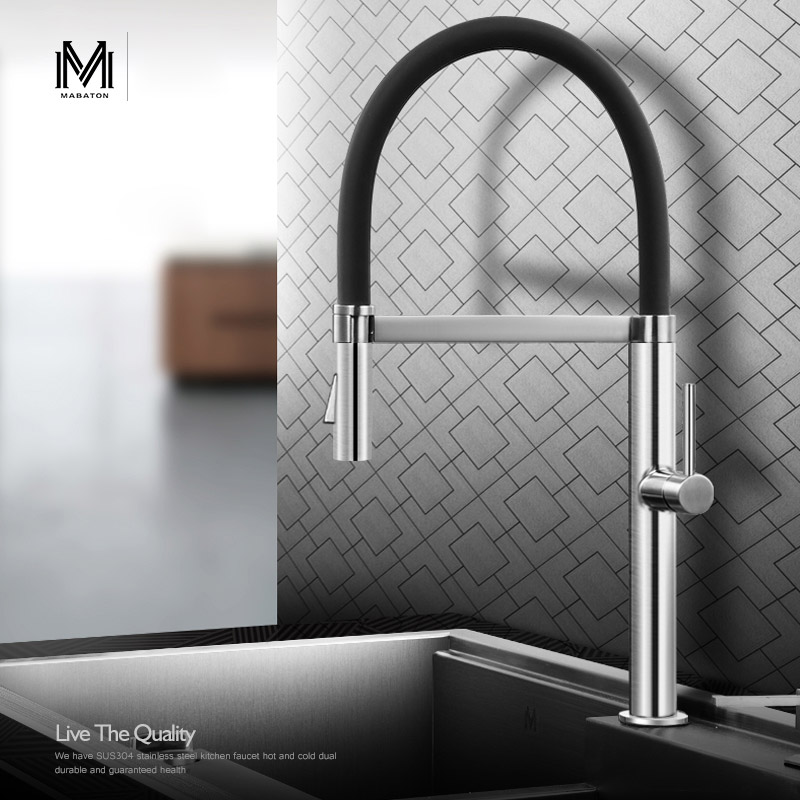 304 stainless steel hot and cold pull type kitchen faucet, dish basin sink Cold and hot pull out water tap faucet dish best served cold