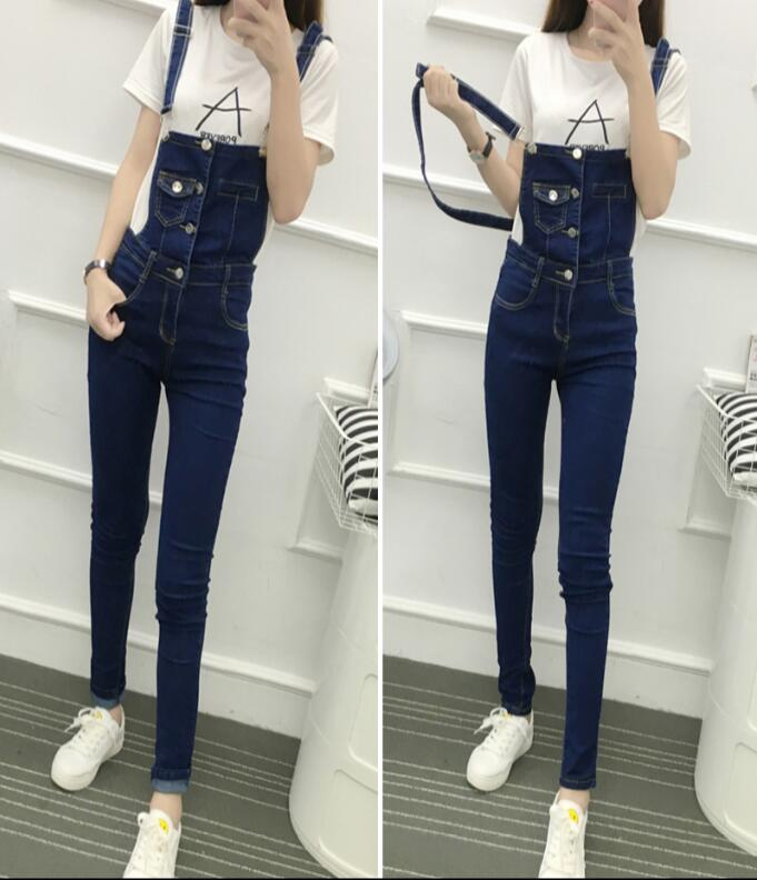 Denim bib pants female 2017 new arrival denim trousers strap slim jumpsuit trousers Overalls Full Length Jeans free shipping  2016 hot sale denim overalls women new arrival autumn winter denim bib pants female jeans rompers harajuku woman jeans lx6107
