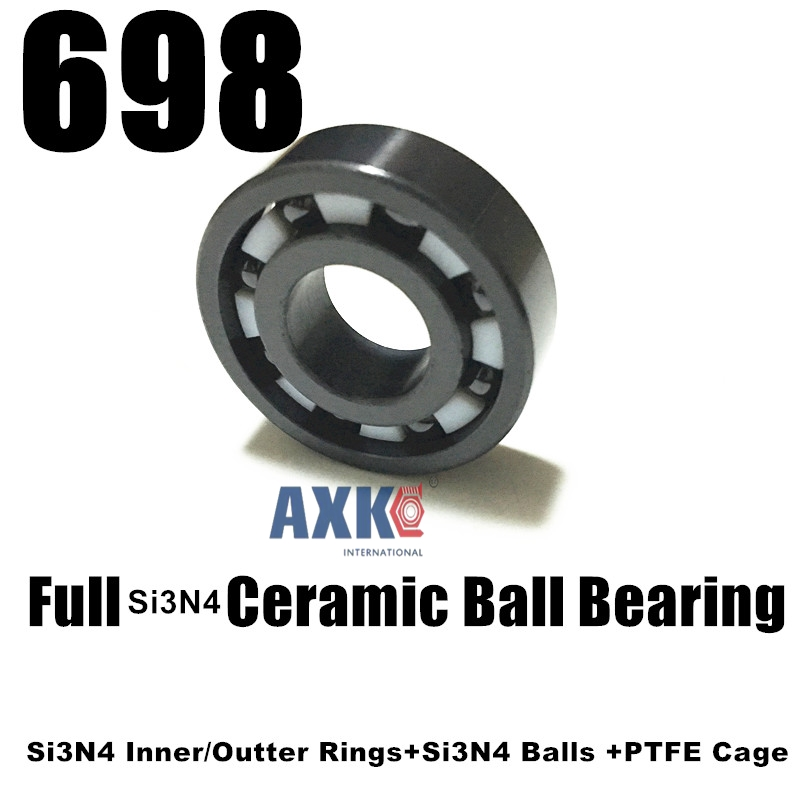 Free shipping 698 full SI3N4 ceramic deep groove ball bearing 8x19x6mm P5 ABEC5 698 full zro2 ceramic deep groove ball bearing 8x19x6mm good quality p5 abec5