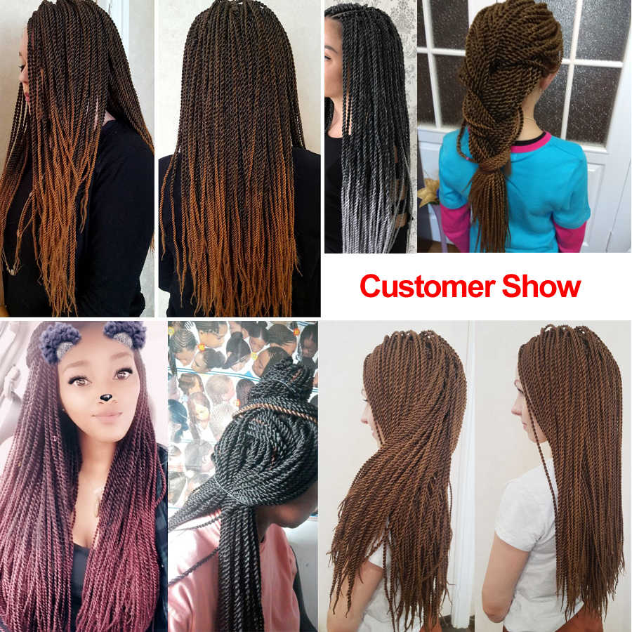 "TOMO Hair 30Roots 14"" 16"" 18"" 20"" 22""  Small Senegalese Twist Hair Crochet Braids Ombre Synthetic Braiding Hair Extensions"