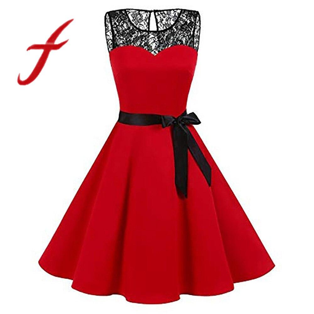 8cc465feed5 Plus size women lace dress vintage solid sleeveless hepburn swing  high-waist pleated mini dress
