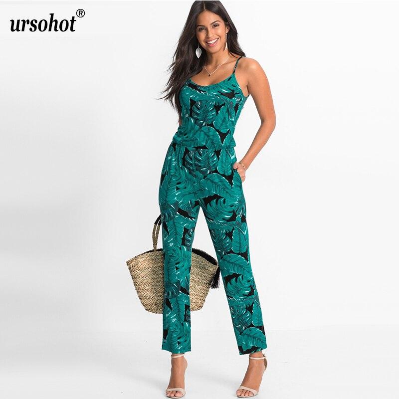c7d77b560cf Ursohot Strap Floral Printed Jumpsuit Women Casual Beach Party ...
