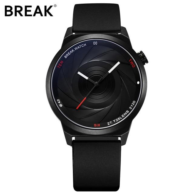 BREAK Men Luxury Brand Fashion Casual Rubber Band Aperture Quartz Wristwatches U
