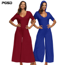 PGSD New Fashion Women clothes Simple pure color Sexy deep V loose short sleeve hooded pocket wide-leg casual Jumpsuits female