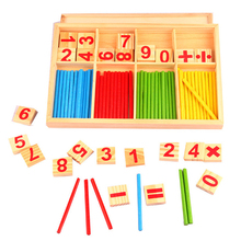 Montessori Math Toy Wooden Number Math Game Sticks Educational Toy Puzzle Kids Learning Teaching math rods wood counting sticks