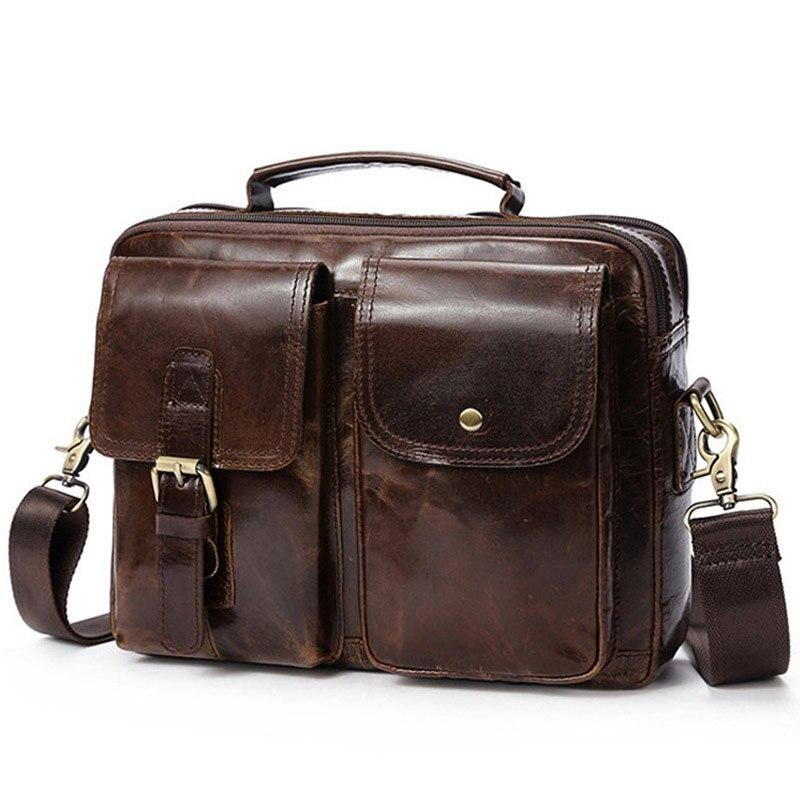 Sac Messenger de marque sac à bandoulière pour hommes en cuir véritable sacs pour hommes serviette en cuir de vachette ordinateur portable sacs à bandoulière pour hommes