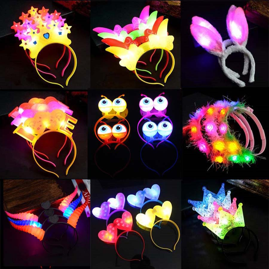 1pcs New LED Flashing Glow Headband Women Girls Crown Heart Light Up Hairbands Hair Accessories Glow Party Supplies