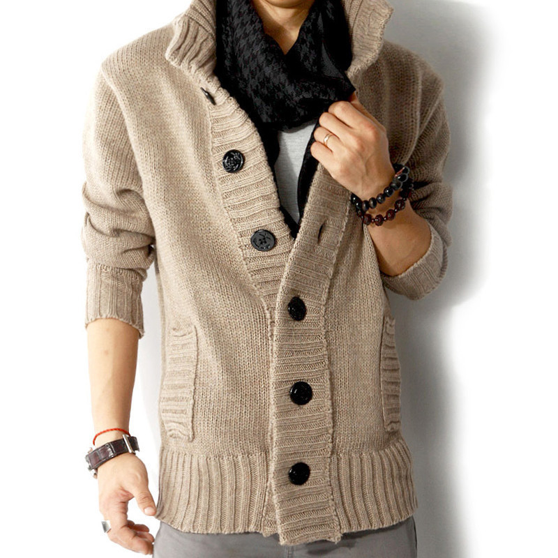 2019 Male Stand Collar Casual Cardigan Sweaters Men's Autumn Winter Sweater Coat Slim Fit Knitted Sweatercoat Jacket S-3XL
