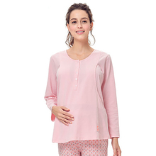 Cotton Maternity Sleepwear Nursing For Pregnant Women Shirt Feeding Casual Cute Cotton Pregnant Clothes Autumn Winter