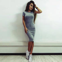 SexyWomen's Summer Casual round neck Short Sleeve Evening Party solid color Dress Midi Dress(China)