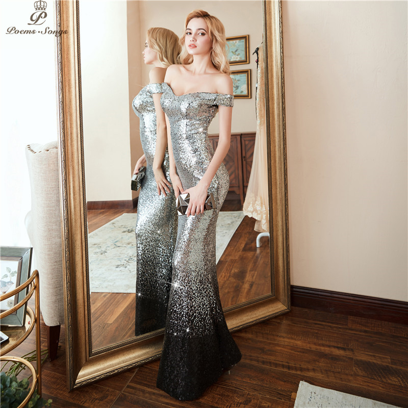 Poems Songs 2019 New Formal party Elegant Evening Dress vestido de festa  Sexy Luxury Silver Long Sequin robe longue prom gowns-in Evening Dresses  from ... f1f5f6879d18