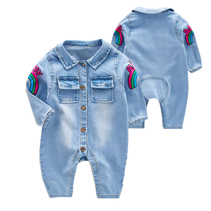 Fashion 2017 spring baby   rompers   boys Denim jacket for girls unisex baby clothes European style Denim jumpsuit infant costume