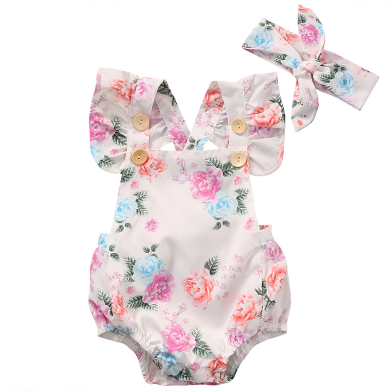 2pcs/Set Summer 2018 Cute Infant Baby Girls Floral Sleeveless Romper +Headband Summer Sunsuit Clothes Baby Costume 0-24M