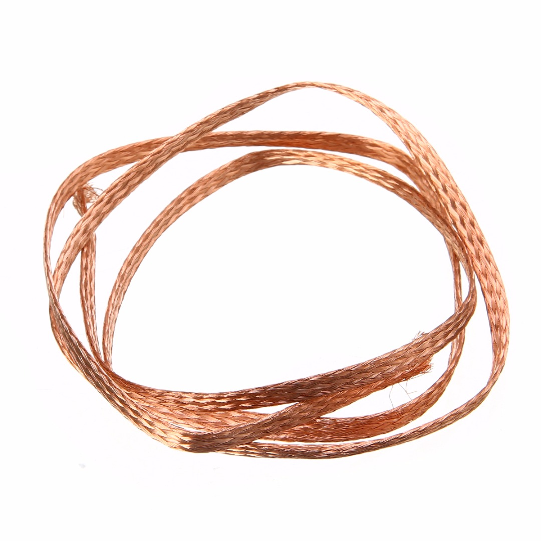 1m 3.3ft Length Flat Pure Copper Braid High Flexibility 6mm Width Cable Bare Copper Braid Wire Connect Ground Lead