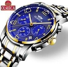 Для мужчин часы OLMECA бренд кварцевые военные часы Relogio Masculino водостойкий наручные часы хронограф часы для мужчин