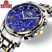 Relógio masculino olmeca marca quartzo militar relógios relogio masculino resistente à água relógio de pulso cronógrafo relógios para homem