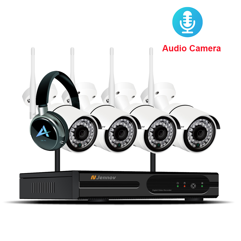 Wireless Security Camera System 4CH NVR Kit 960P HD Outdoor IP Camera Audio Record Waterproof Wifi Video Surveillance CCTV ipcam