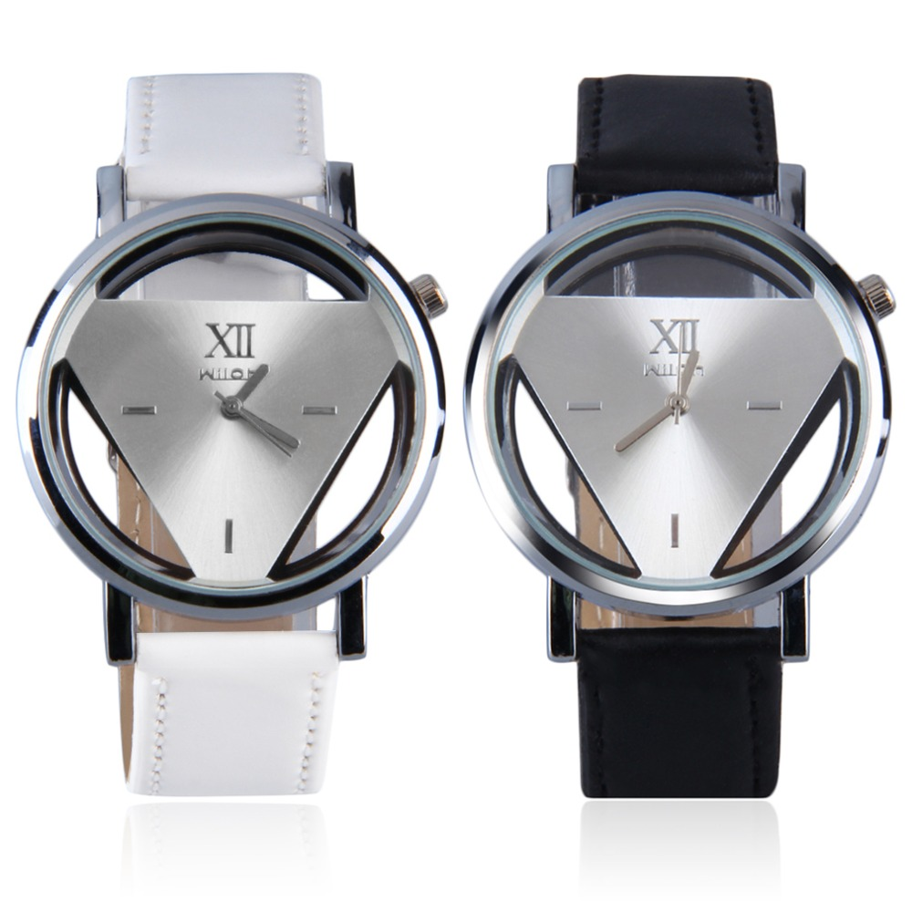 Stainless Steel Hollow Triangule Dial PU Leather Band Quartz Wrist Watch Casual Cool Watch Brand Men Watches