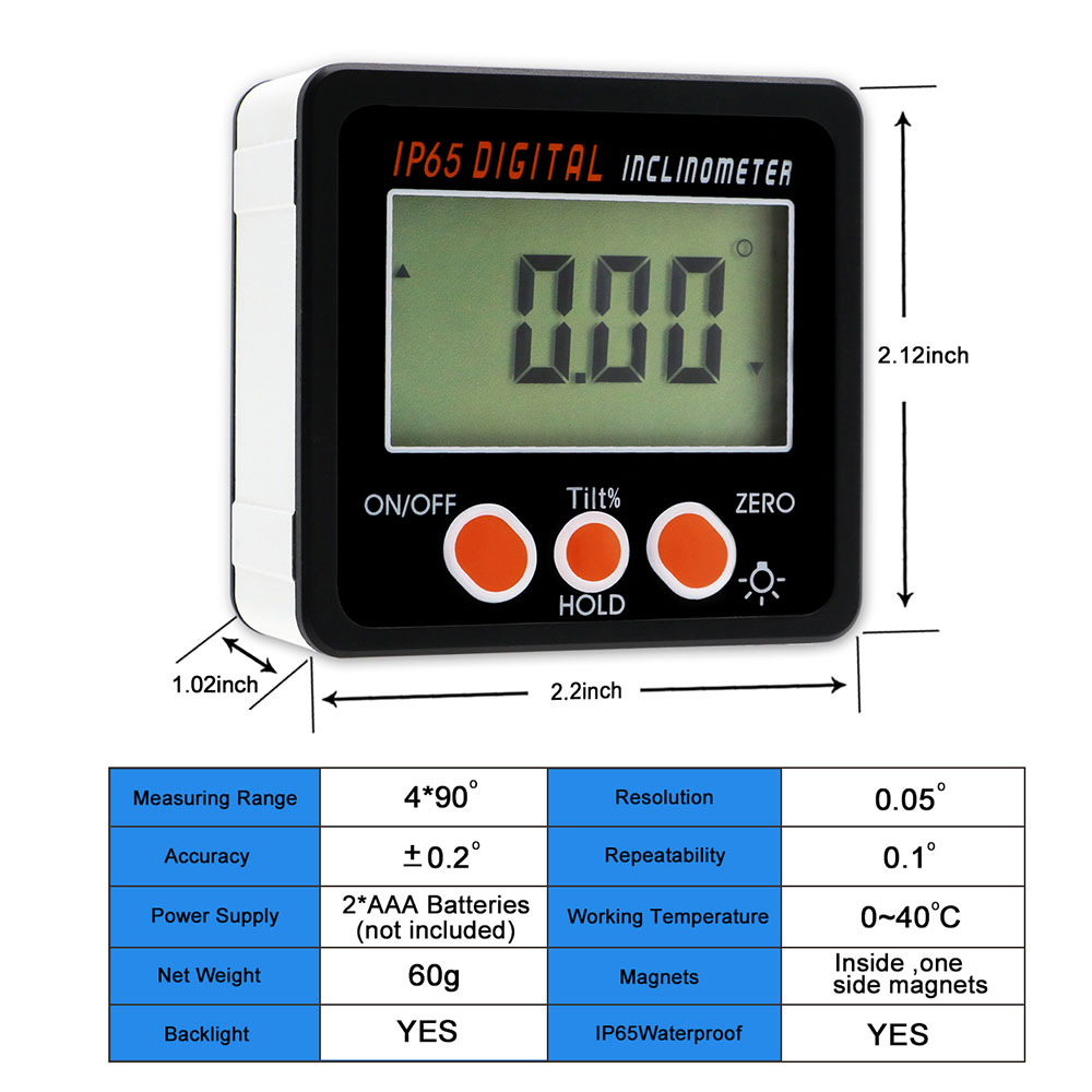 Image 2 - IP65 Waterproof  Protractor With Back light inclinometer Angle Bevel Box Electronic Protractor Magnetic Base-in Protractors from Tools