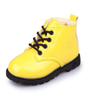 2018 New Patent Leather Children Boots European Fashion Lace Up Kids Shoes High Quality Classic Baby