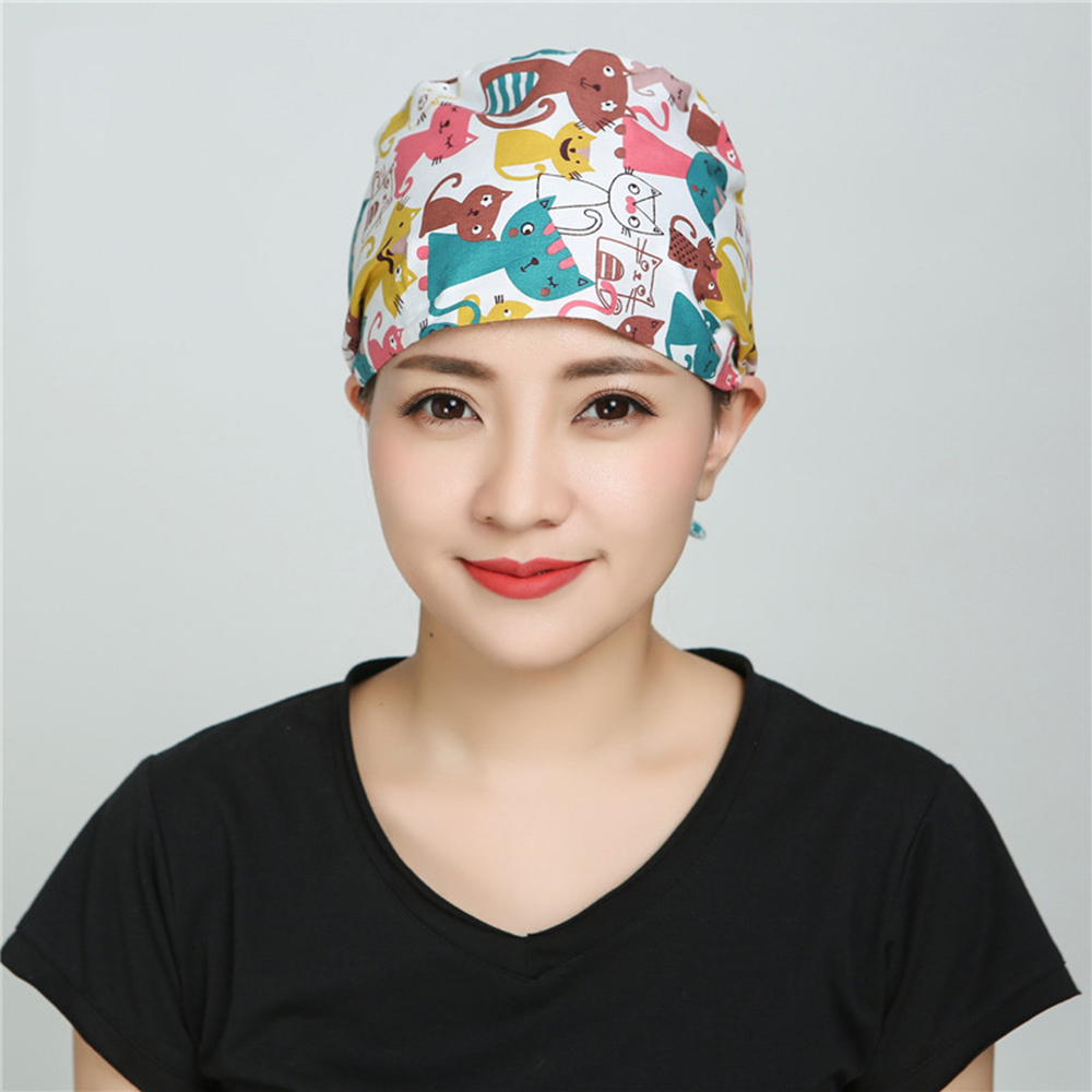 Doctor Nurse Caps Cotton Breathable Printed Adjustable Pet Hospital Work Hats Surgical Caps For Women Men
