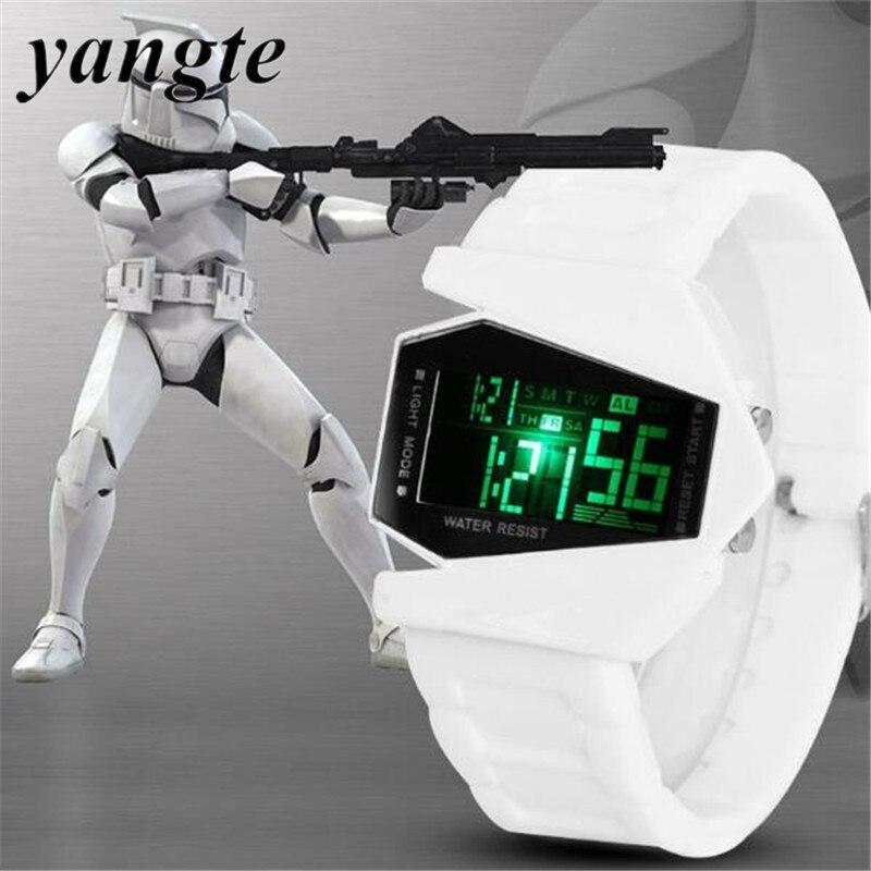 YANGTE Fashion Star Wars Men Watch Male LED Digital Future Casual Stopwatch Rubber Watchband Wristwatch Relogio
