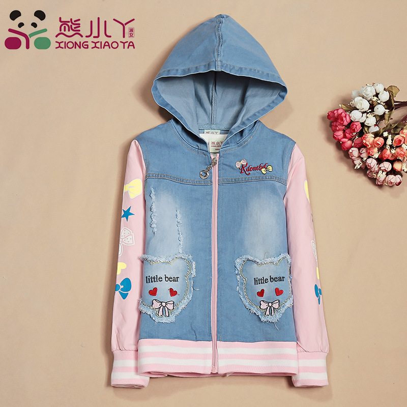 Denim Coat for Girls Children's Clothing Jackets Autumn Spring Outfits Kids Clothes Baby Girl Top Outerwear Fashion Jeans GH083 girls jeans overalls for girl denim 2017 spring pocket jumpsuit bib pants children s hole jeans baby overall for kids 3 12 years