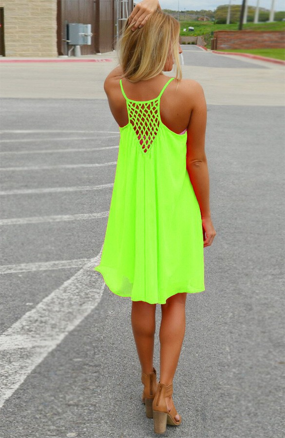 fecff2a420 Chiffon Summer Neon Dress