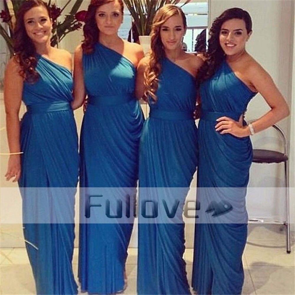 Fashion Royal Blue Pleat Chiffon Tight   Bridesmaid     Dresses   Long 2019 One-Shoulder Sleeveless Wedding Party Gown Vestido De Festa