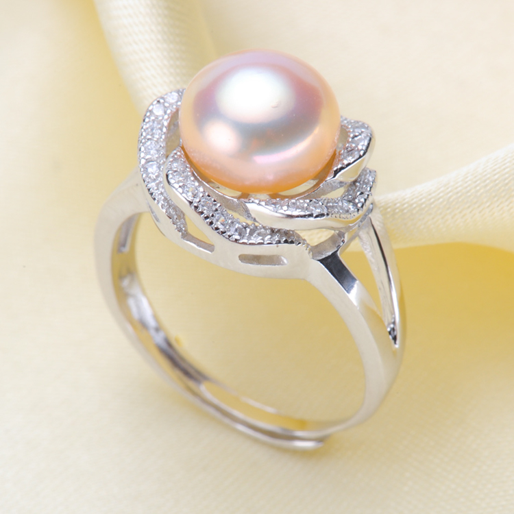 925 Silver Pearl Ring Finger Ring Promotion Settings Adjustable Ring Findings Jewelry Parts Fittings Accessories, 3pcs/lot