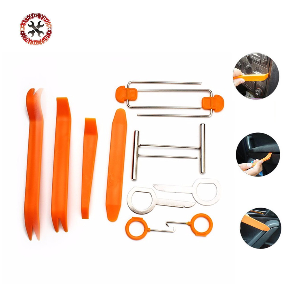 Set Of 12pcs Car Radio Door Clip Panel Trim Dash Audio Removal Open Installer Pry Tool For Auto Vehicles Free Shipping