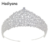 Hadiyana Luxury Bridal Flower Style Crown Shiny Female Headdress Wedding Engagement Accessories Jewelry Hair Accessories HG6070