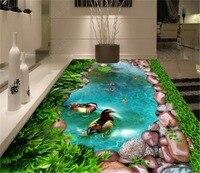 Custom Any Size 3D Mural Wallpaper Green Grass, Cobblestone Pool, Goldfish 3D Indoor Floor Decorating Mural