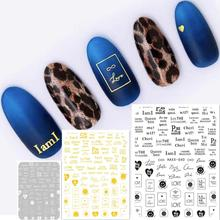 Newest HAXX-40 41 42 lettering design 3d nail sticker Japan style decals template back glue DIY art decoration tools