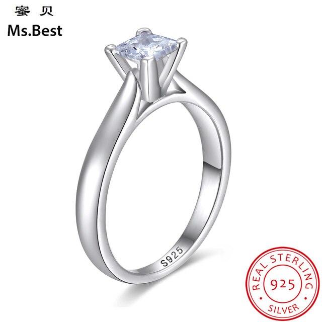 primer nivel promoción promoción especial Anillos de Compromiso diamante laboratorio cuadrado corte princesa para  mujeres 925 Plata Ley bulgaria accesorios joyería regalo nupcial
