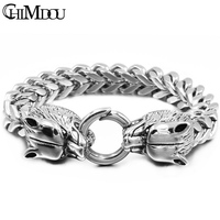 CHIMDOU 2018 New Arrival Silver Color Mens Chain Link Bracelets 316L Stainless Steel Wolf Head Charms