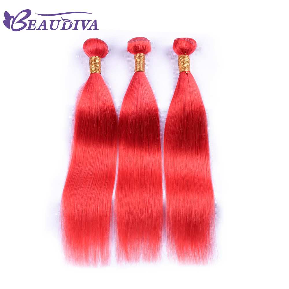 Beaudiva Hair Malaysia Straight Hair Human Hair 3 Bundles With Closure Free Part RED Remy Hair 10-28 Inch For Free shipping