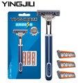 Yingjili hombres 3 capas de acero inoxidable afeitar las hojas de afeitar conjunto titular de afeitar 1 4 palas regalos para hombres amigos suministros
