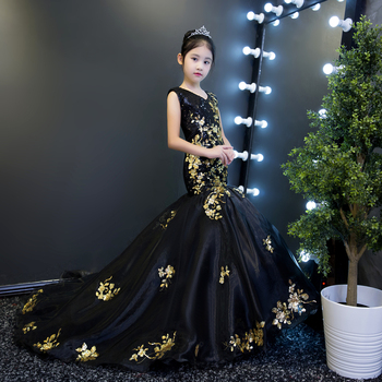 Luxury Black Mermaid Flowers Girl Dresses Sequined Royal Party Model Show Dress Long Tailing Pageant Dress Birthday Catwalk Show