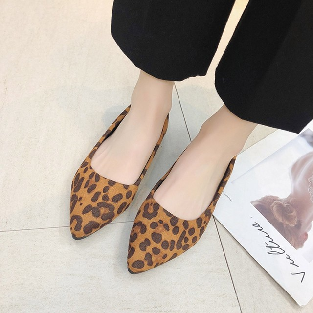 New Style Women's Fashion Ladies Flock Loepard Shallow Single Flat Shoes Good Quality Simple Pointed Toe Casual Shoes        10