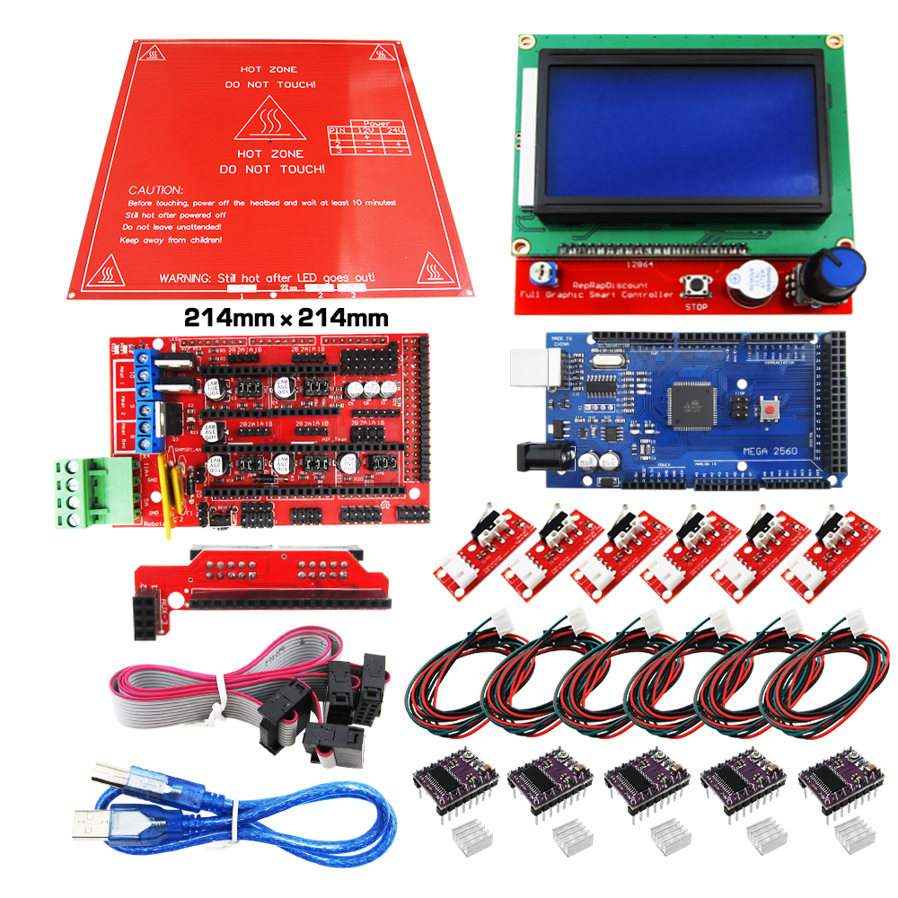 Reprap Ramps 1.4 kit + Mega 2560 + Heatbed mk2b + 12864 LCD Controller + DRV8825 + Mechanical Endstop+ Cables 3D Printer reprap ramps 1 4 mega 2560 heatbed mk2b 12864 lcd controller drv8825 mechanical endstop cables for 3d printer diy kit