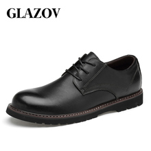 Genuine Leather Men Shoes Fashion Waterproof Oxford