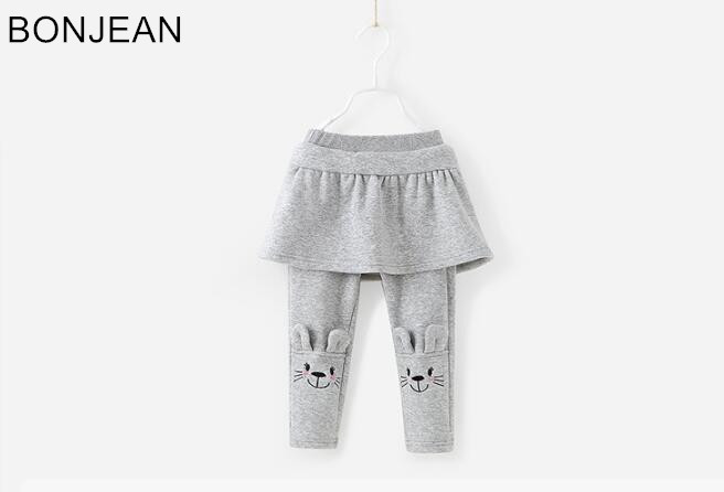2017 free shipping Skirt plus velvet GIRL leggings Small BABY girl's autumn and winter 3-6 female baby two PIECES pants