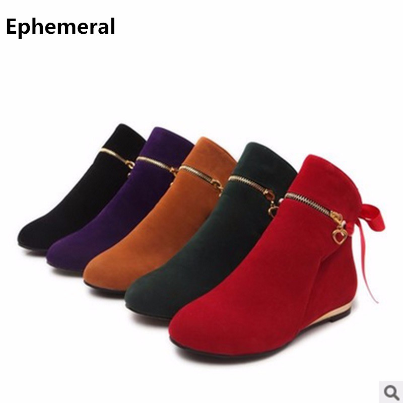 Ladies Warm Boots Flats Plus size 34-43 Nubuck Leather Single Riding Booty Round toe Winter Boots Fashion American Style Purple